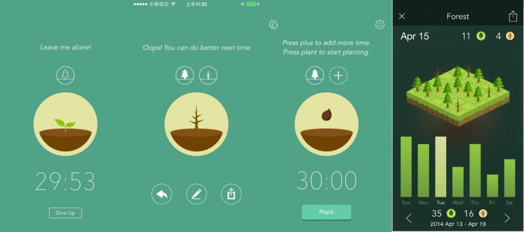 Copies d'écrans de l'application Forest