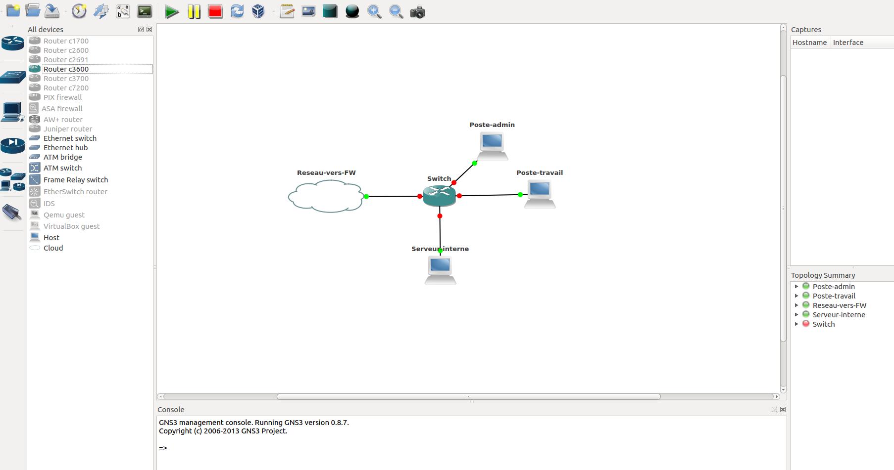 """Schéma de la topologie GNS3 avec un switch et 3 postes. Le schéma montre un switch central connecté à un poste-admin, un poste-travail et un serveur-interne. De plus, le switch est connecté au réseau """"vers FW""""."""