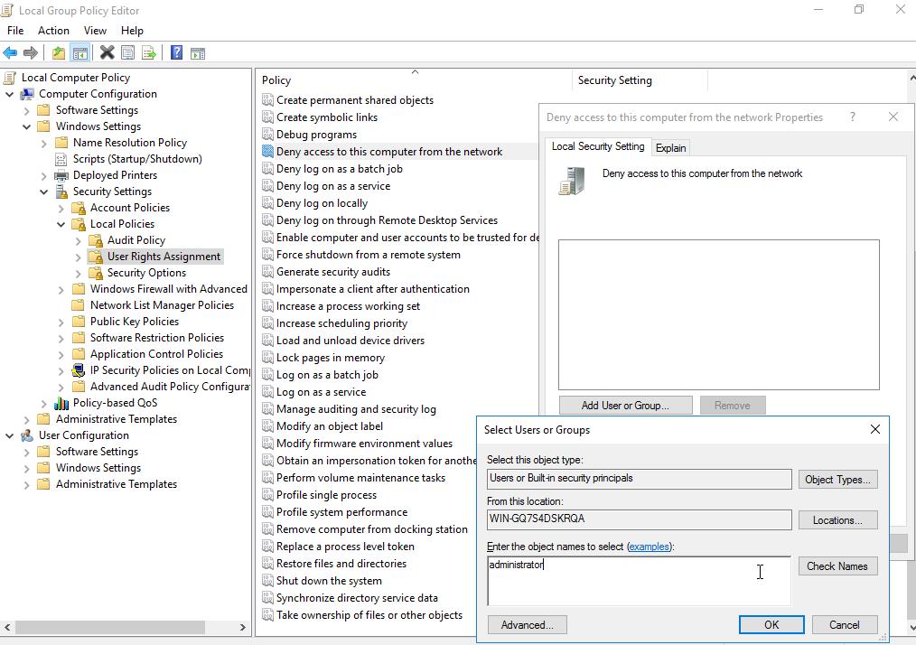 Capture d'écran du Local Group Policy Editor permettant d'éditer les restrictions d'accès par le réseau.
