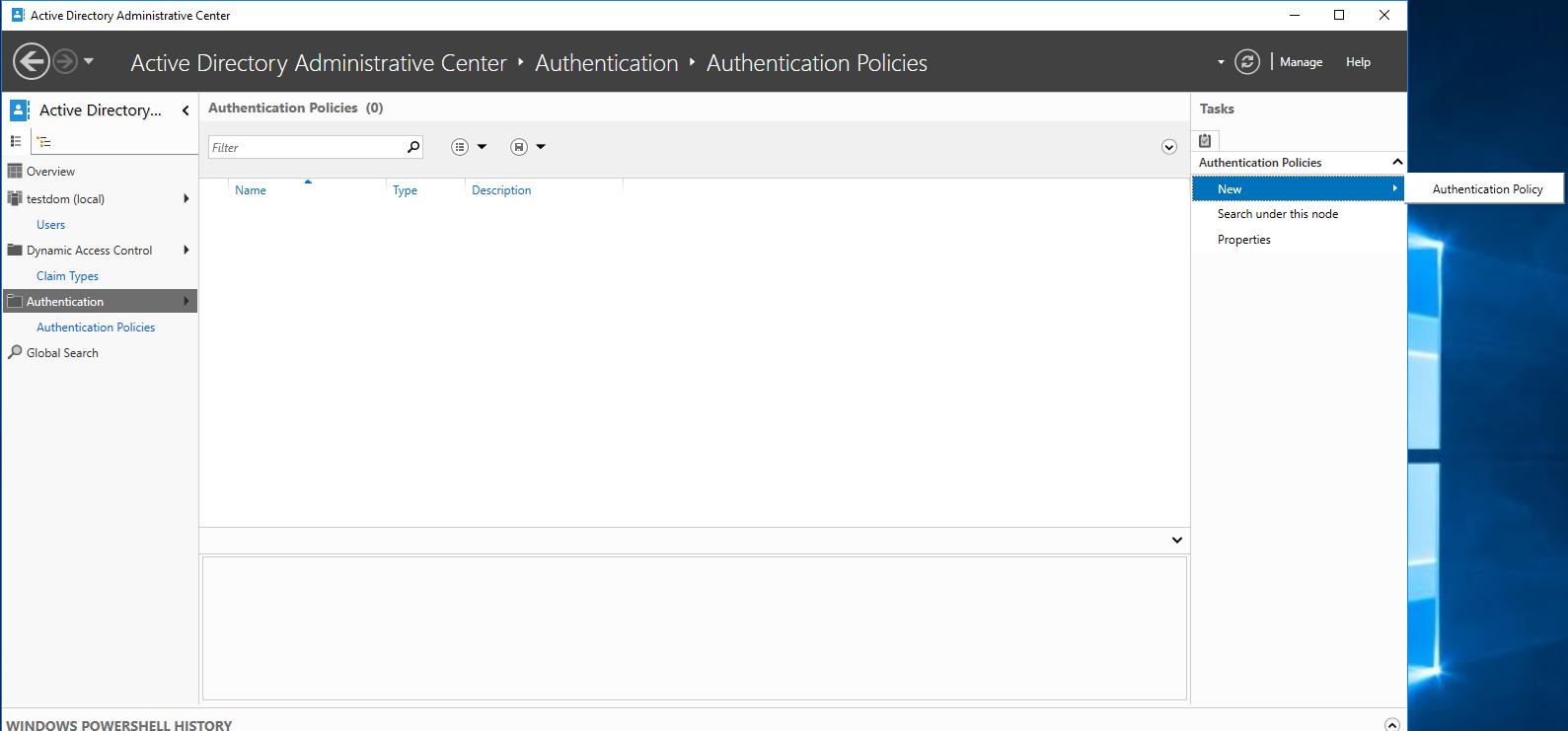 Capture d'écran de la fenêtre d'ajout d'une stratégie d'authentification dans Active Directory.