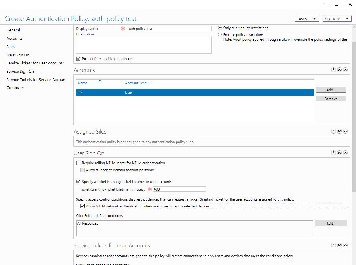 Capture de la fenêtre de configuration d'une nouvelle stratégie d'authentification sur Active Directory.