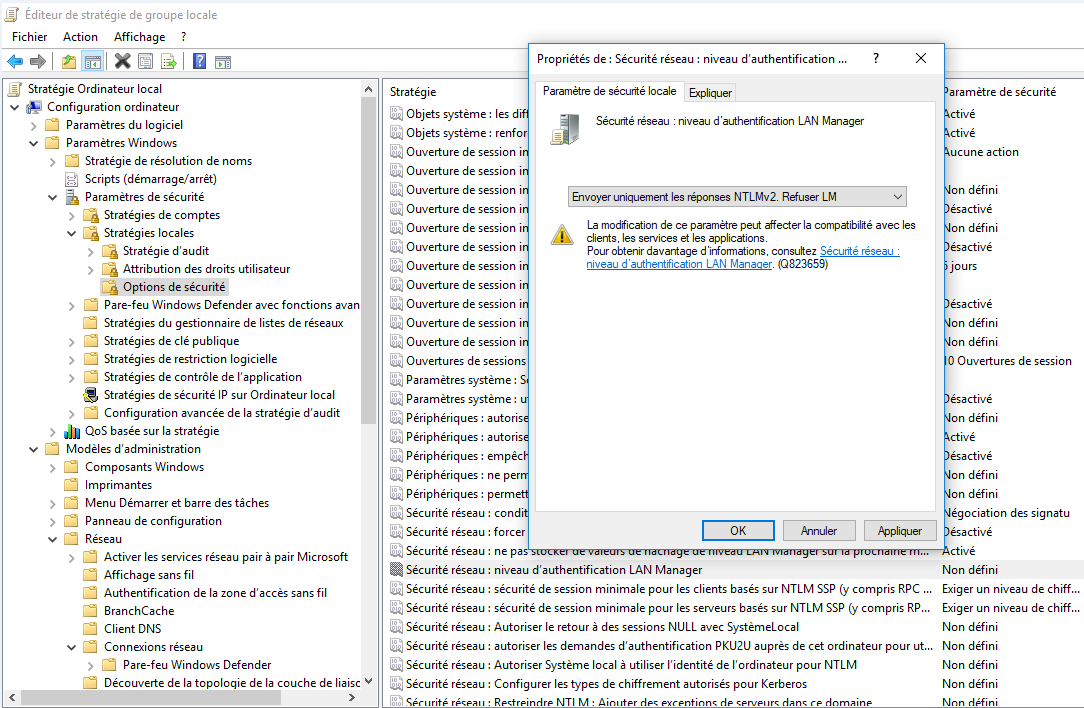 Capture d'écran de la fenêtre de propriétés de sécurité réseau afin de modifier le niveau de sécurité de l'authentification à distance.