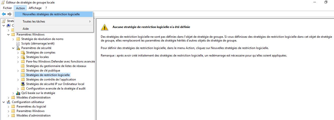 Capture de l'éditeur de stratégie de groupe local afin d'ajouter une politique de restriction logicielle.