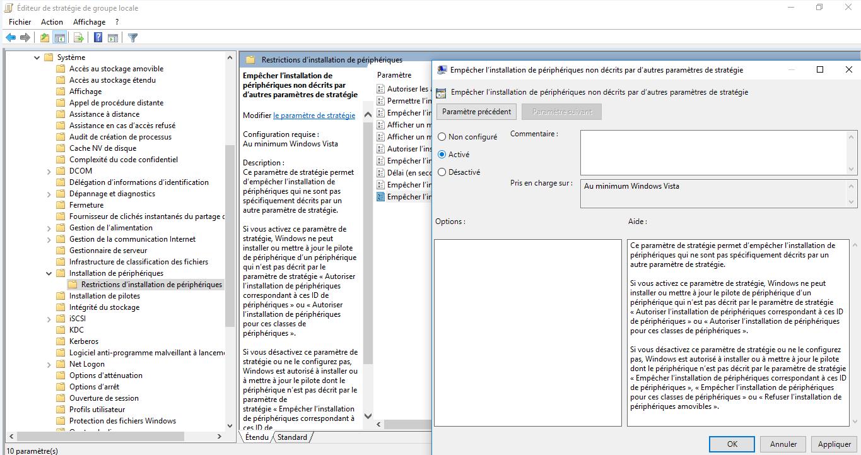 Capture de l'éditeur de stratégie de groupe local afin de configurer les restrictions sur les médias amovibles.