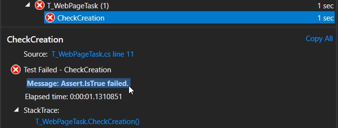 Echec du test CheckCreation