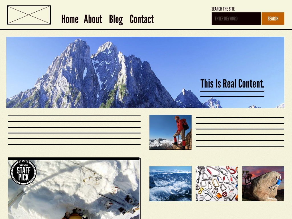 Exemple d'un page, un template avec du contenu en plus ! - crédit : Brad Frost