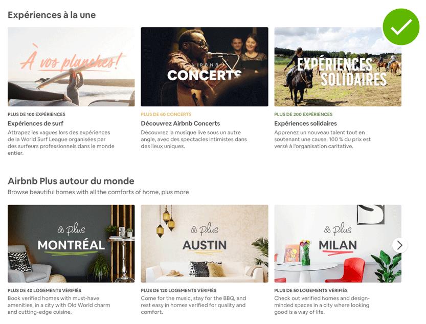 Capture d'écran du site Airbnb