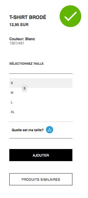 Capture d'écran Panier du site internet Zara
