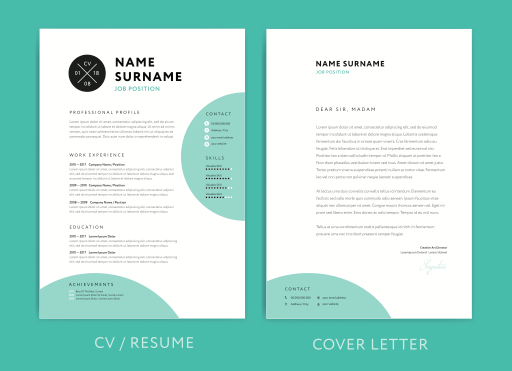 Résumé and cover letter templates from Adobe Stock.