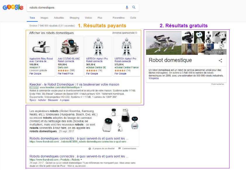 Différences entre les résultats gratuits et les résultats payants dans une page de résultats Google