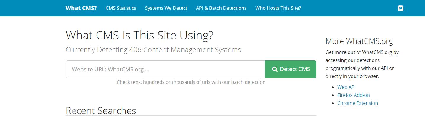 Screenshot de l'outil what cms pour détecter la technologie d'un site web
