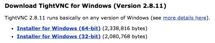Capture de la section d'installation sous Windows sur le site de TightVNC, avec l'option 32-bit et l'option 64-bit.