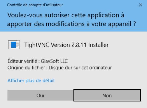 Pop-up de Windows demandant confirmation de l'autorisation de TightVNC Installer à apporter des modifications à l'ordinateur.
