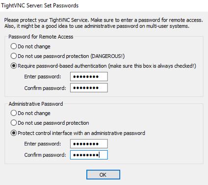 Fenêtre de définition des mots de passe. Les deux mots de passe sont activés et définis.