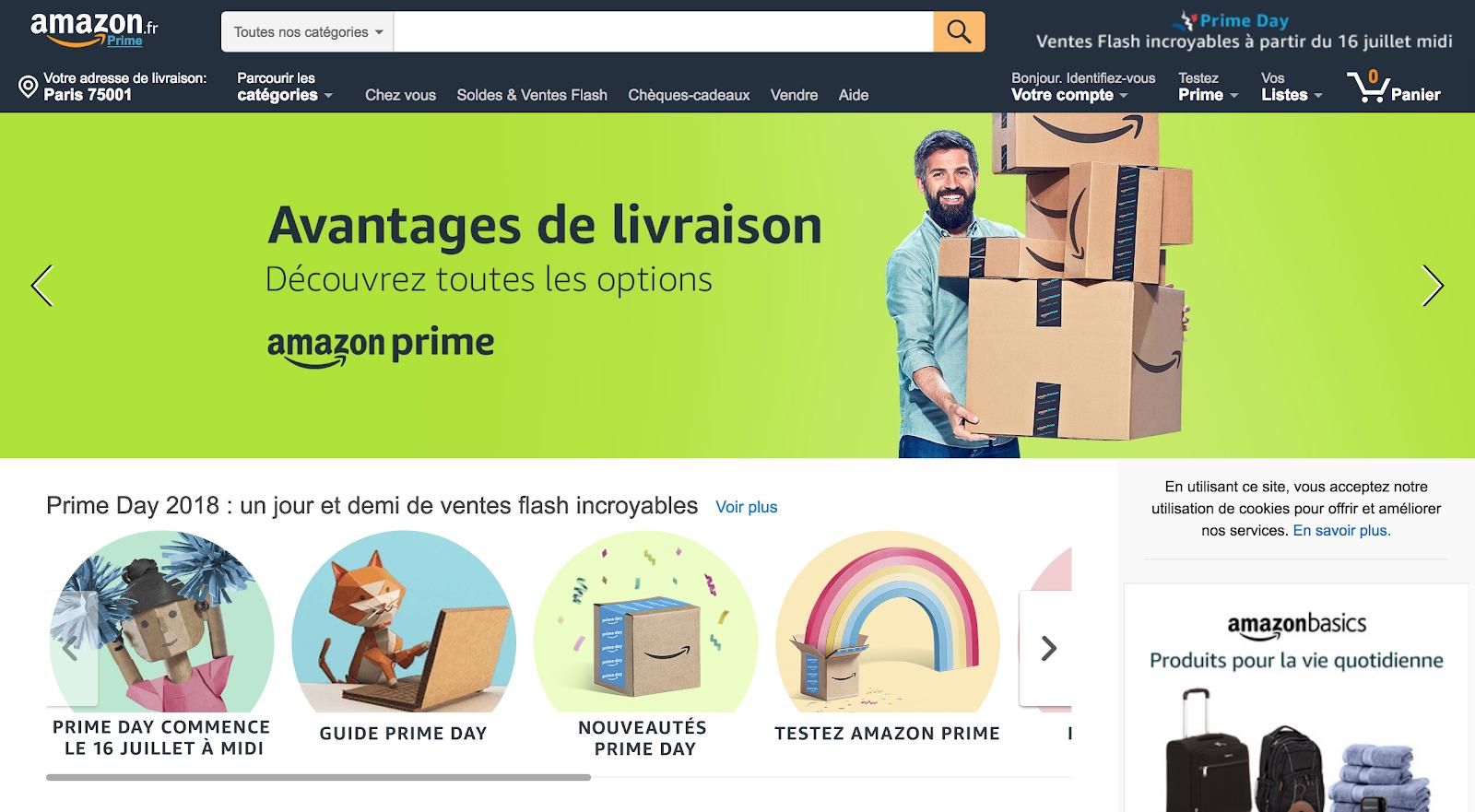 Landing page d'Amazon en juillet 2018
