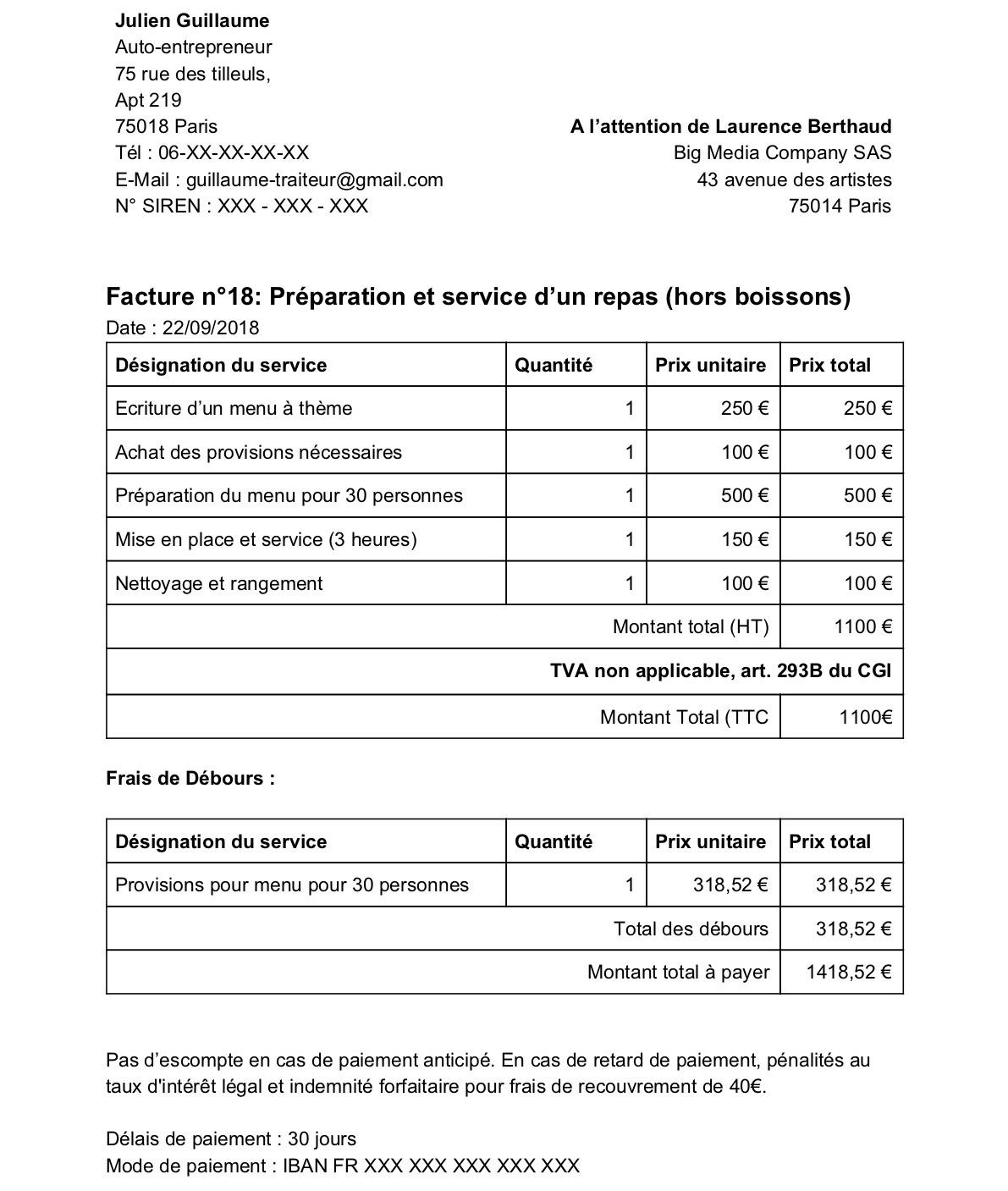 Micro Entreprise Exemple De Devis Auto Entrepreneur ...