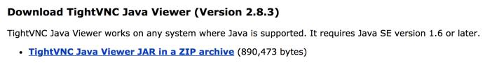 Capture du site de téléchargement de TightVNC Java Viewer en archive ZIP d'un fichier JAR.