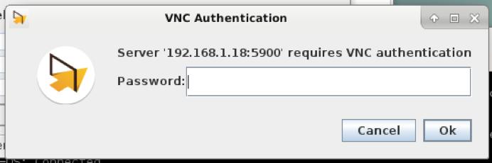 Fenêtre d'authentification. Dit que le serveur requiert une authentification VNC et demande le mot de passe.