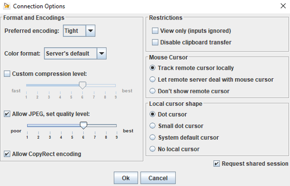 Fenêtre d'options supplémentaires de TightVNC Viewer (Preferred encoding, color format, custom compression level, allow JPEG and set quality level, allow CopyRect encoding...)
