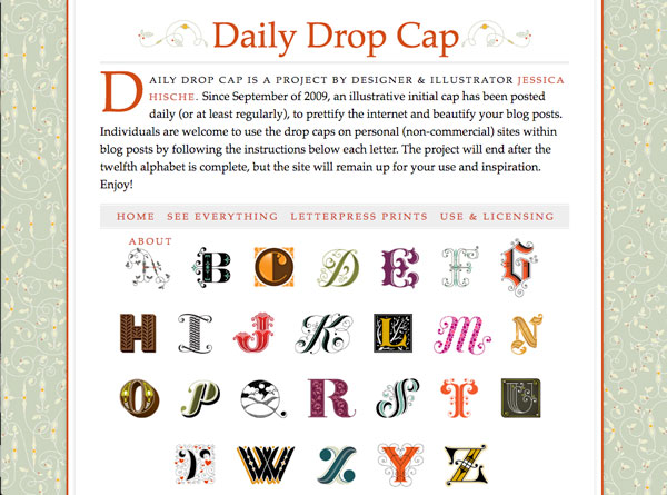 Daily Drop Cap screenshot with description of the project, and one alphabet visible.