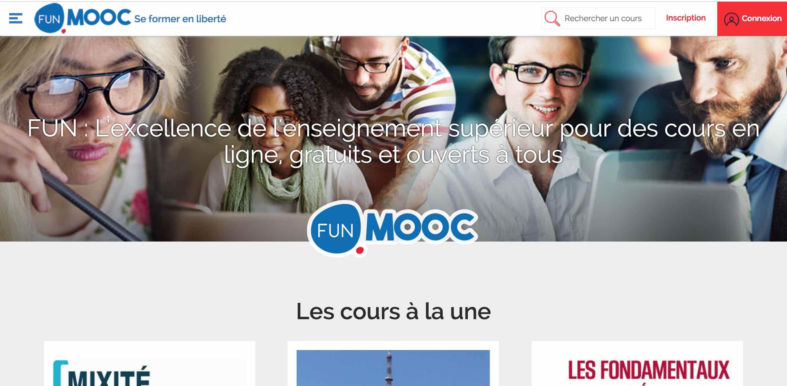 Page d'accueil de FUN MOOC Université