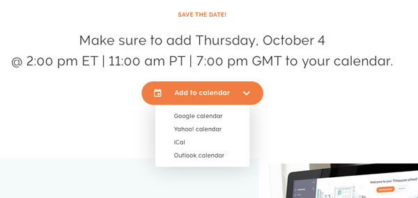 Save the date for a webinar includes a feature with a drop down menu to add it to your calendar. Different time zones are listed for clarity.