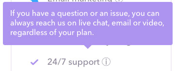 Support scroll over which tells users that 24/7 support also includes email, live chat, and video.