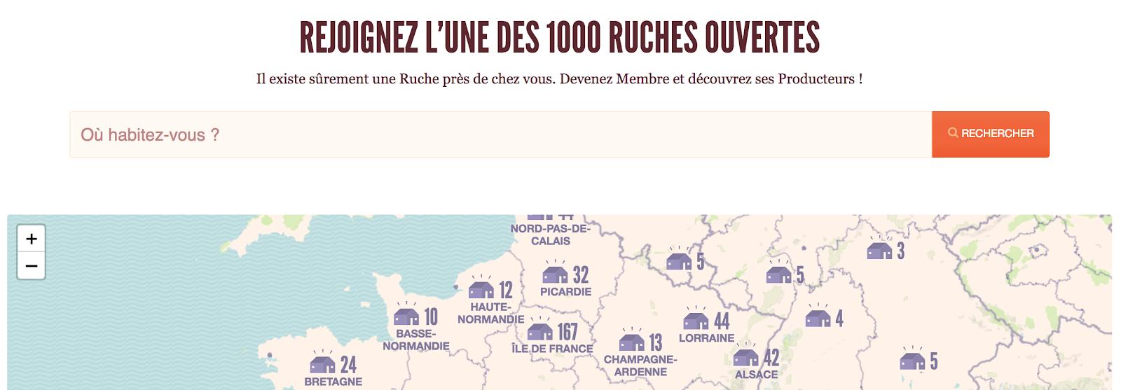 Page d'accueil de La Ruche qui dit Oui ! en juillet 2018