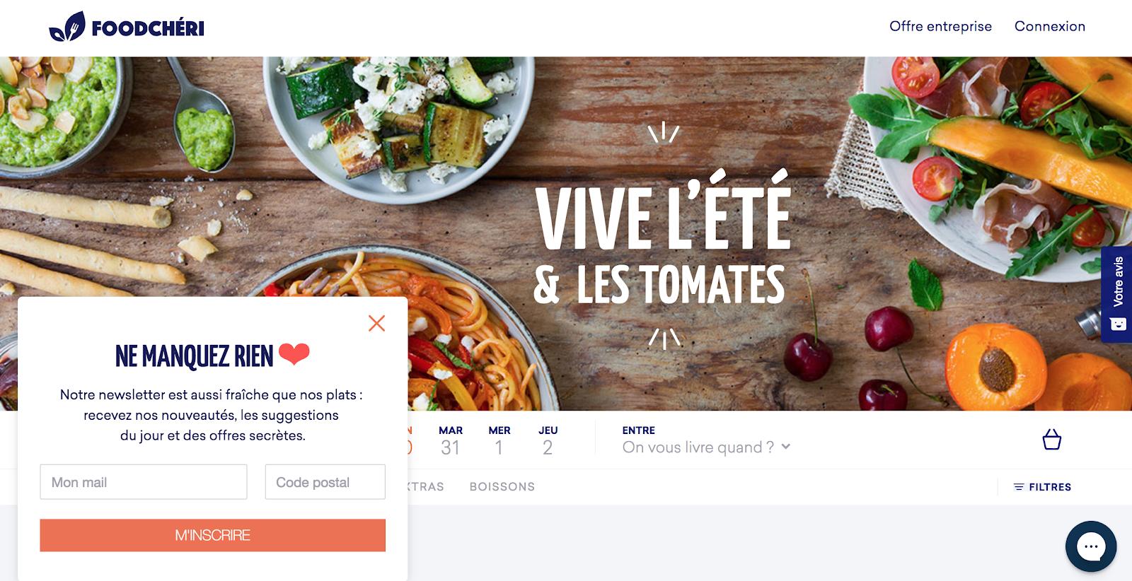 Page d'accueil de FoodChéri en juillet 2018
