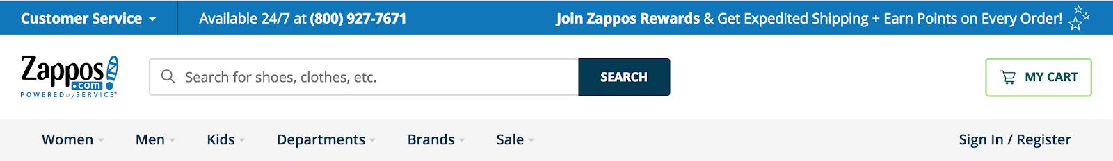 Bandeau d'accueil du site de Zappos en août 2018