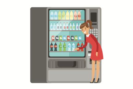 Les distributeurs automatiques sont un exemple de self-service