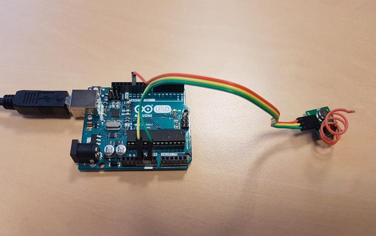 Les connexions électriques entre le module MX-FS-05V et la carte Arduino UNO