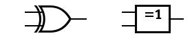 Porte XOR en norme américaine (à gauche) et internationale (à droite)