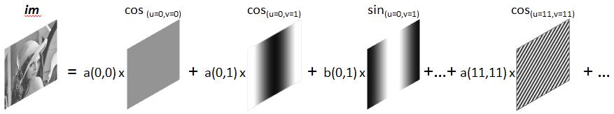 Décomposition sinusoïdale : toute image de taille NxM peut être exprimée comme la somme de NxM images sinusoïdales cosinus et sinus
