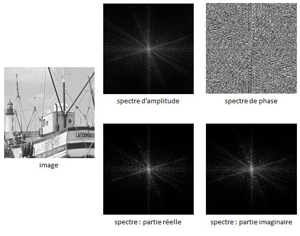 Spectre d'une image : représentation par le spectre d'amplitude et de phase (en haut) ; représentation par la partie réelle et la partie imaginaire (en bas)