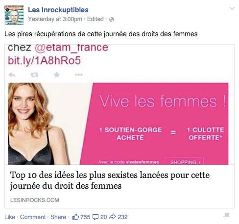 Impression écran d'une publication Facebook du magazine Les Inrocks partageant une publication de la marque Etam.  Celle-ci offre une culotte pour un soutien-gorge acheté, à l'occasion de la journée internationale des droits des femmes.