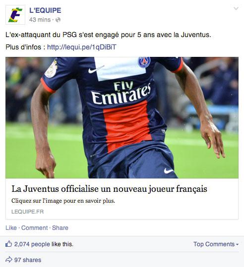 Impression écran d'une publication du magazine de sport L'Equipe. La publication montre un joueur de foot dont sa tête est cachée, avec en titre :