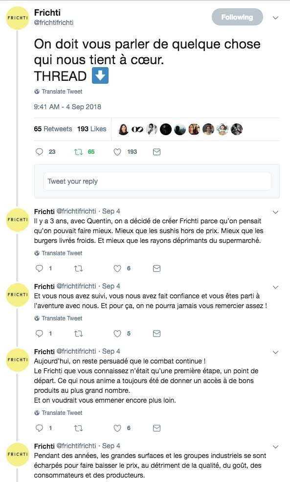 Impression écran d'un Thread Twitter de la marque Frichti. Elle remercie sa communauté de l'avoir suivi jusqu'ici et annonce qu'elle veut aller encore plus loin dans sa démarche initiale : proposer des produits de qualité.