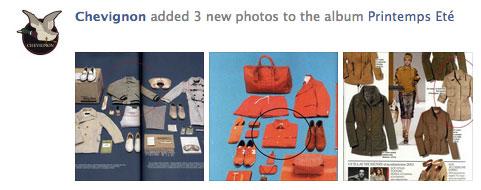 Impression écran d'une publication de Chevignon.  La marque publie sur sa page Facebook 3 photos montrant la mise en avant de ses produits dans un magazine de mode.