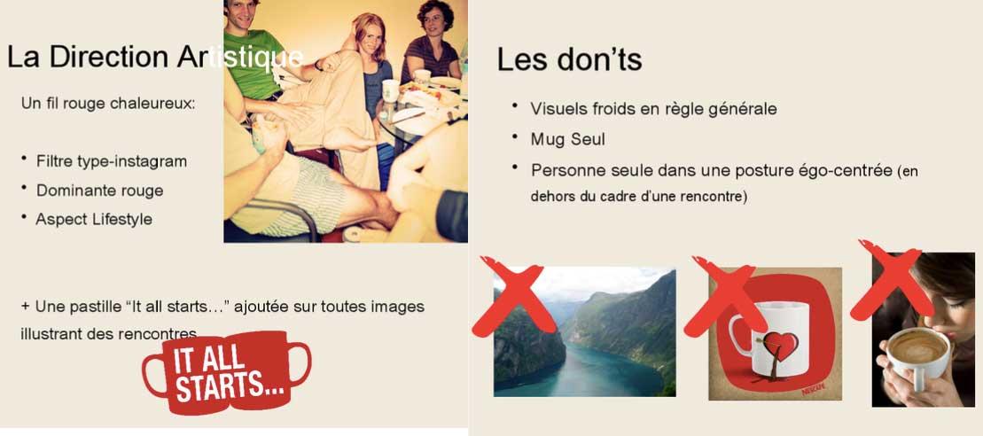 Présentation imagée de l'axe de communication choisi par Nescafé : le fil rouge à suivre et les choses à ne pas faire pendant la campagne. Par exemple, ne pas présenter de personne seule sur les visuels.