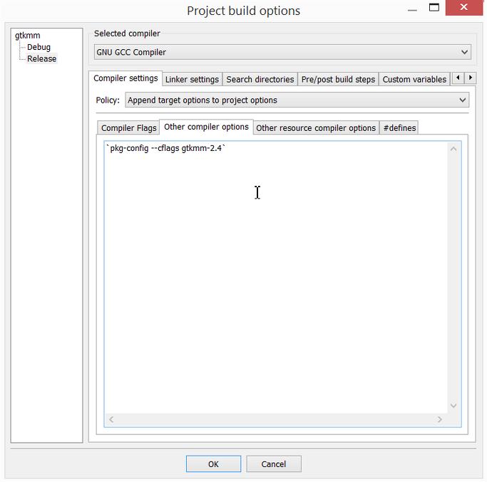 Installation de gtkmm et compilation - problèmes de compilation