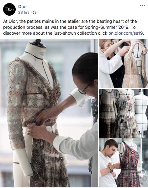 Exemple d'un post Facebook de la marque Dior