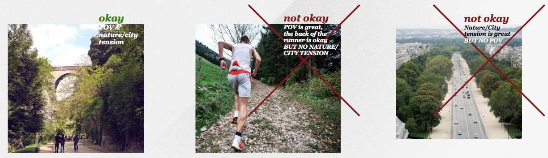 3 visuels sont représentés : le visuel à utiliser, associant bien la nature et la ville, et deux autres visuels non-conformes avec la ligne éditoriale