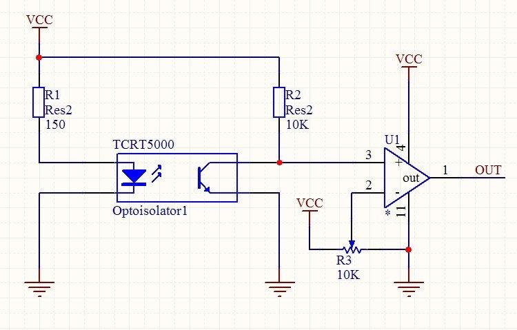 Electronique d'interface du composant TCRT5000