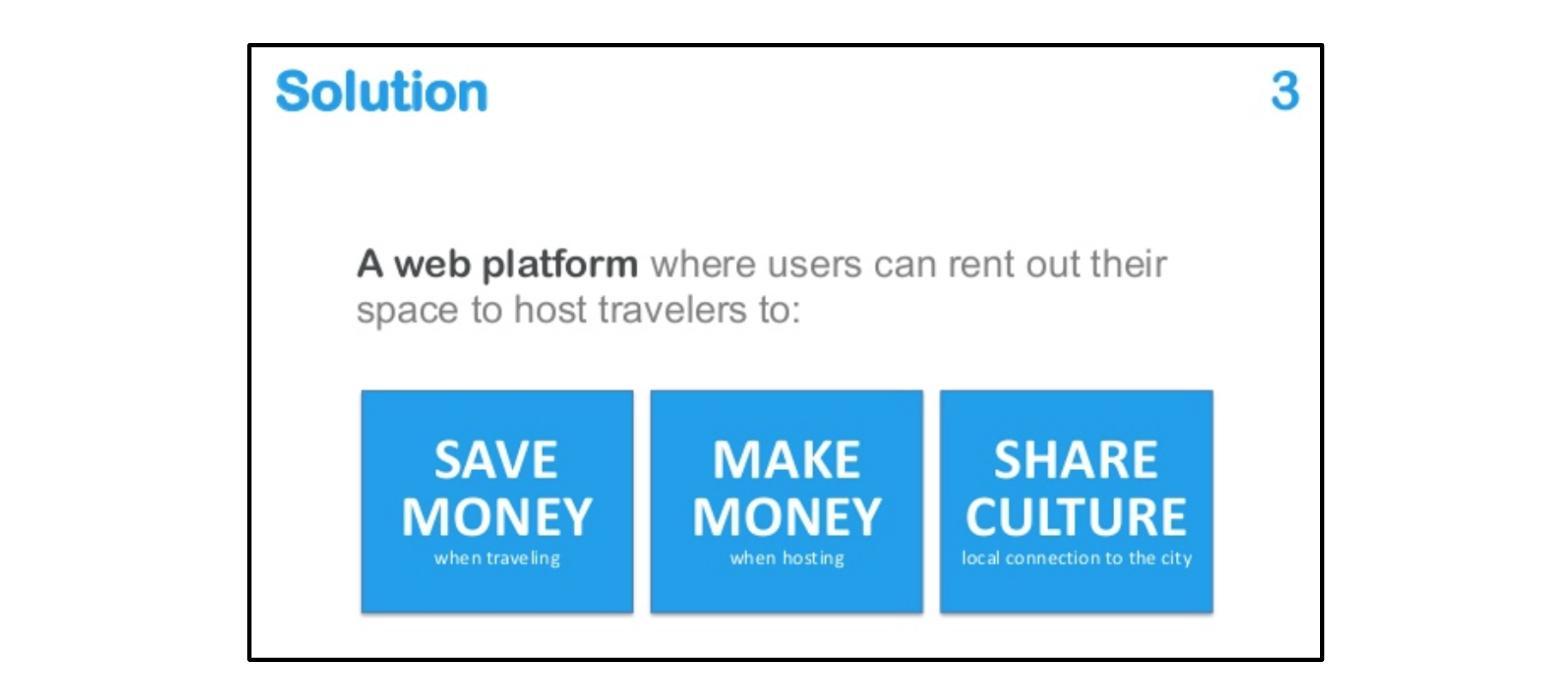 La solution que propose Airbnb (pitch deck)
