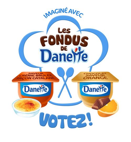 Publicité pour voter pour sa saveur Danette préférée : crème brûlée façon Catalane ou Chocolat saveur orange
