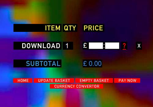 Impression d'écran du panier pour acheter l'album de Radiohead a prix libre.