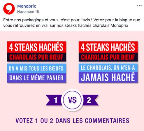 Monoprix propose à sa communauté de voter pour  son packaging préféré parmi 2 propositions.
