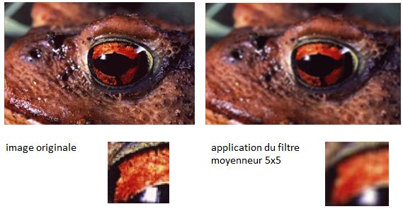 Exemple : filtre moyenneur (image : Annick Leroy)