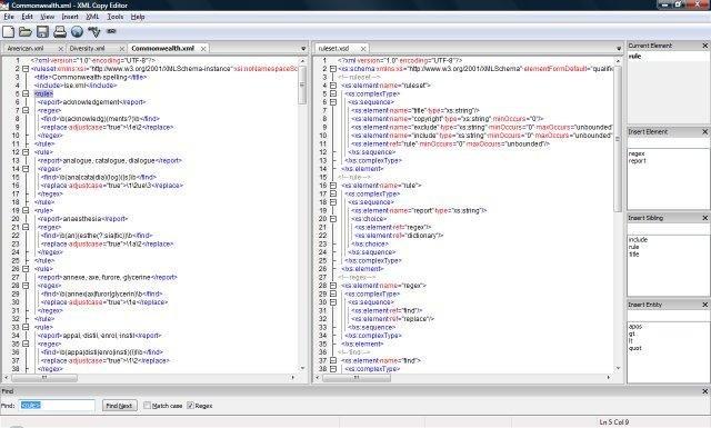 XML Copy Editor - photo issue du site officiel du projet